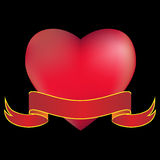3D Heart with Banner. Image of a 3D heart with banner stock illustration