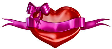 3D heart with bow and lillac ribbon Stock Images