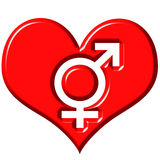 3d heart with combined gender signs stock illustration
