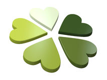3d heart flower. 3d flower of green hearts on the white background Royalty Free Stock Photo