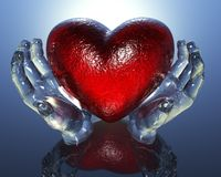 3d heart in glass hands Royalty Free Stock Images