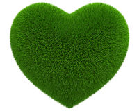 3d Heart of green grass icon - isolated Royalty Free Stock Photo