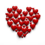 3D heart illustration - isolated. 3D heart made by many hearts with clipping path royalty free illustration