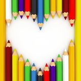 3d heart shape out of pencils. On white background Stock Photography