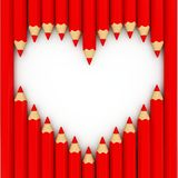 3d heart shape out of pencils Stock Image