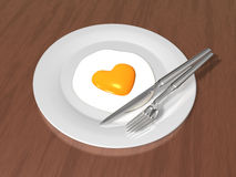 3d heart sunny side up egg dish Stock Photos