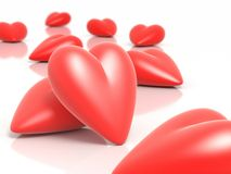 3D hearts. Illustration with depth of field effect Stock Illustration