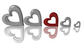 3D-Hearts Fotografia Stock