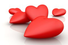 3D hearts. Bounch of 3D hearts on white background Stock Photography