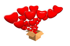 3D hearts flying out from box Stock Photo