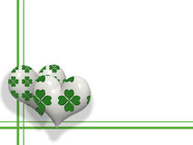 3D hearts with four leaves shamrocks Royalty Free Stock Photo