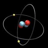 3d Helium Atom. 3d made Helium Atom detail Stock Photo