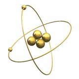 3d Helium Atom in gold. 3d made Helium Atom in gold Royalty Free Stock Photos