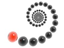 3D helix. 3D black helix and red element Stock Photography