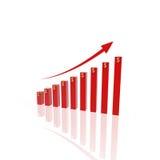 3d het groeien bedrijfsgrafiek Stock Afbeeldingen