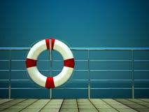 3d het levensring en op veiligheidsbarrières op zee Royalty-vrije Stock Afbeelding