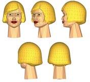 3D het netwerk vrouwelijke hoofden van de kleur Stock Afbeelding