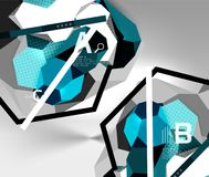 3d hexagon geometric composition, geometric digital abstract background Stock Image