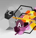 3d hexagon geometric composition, geometric digital abstract background Stock Images