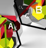 3d hexagon geometric composition, geometric digital abstract background Royalty Free Stock Photography