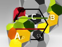 3d hexagon geometric composition, geometric digital abstract background Stock Photography