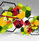3d hexagon geometric composition, geometric digital abstract background Royalty Free Stock Photo