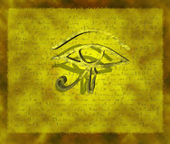 3D Hieroglyph. A 3D hieroglyph floating in front of a parchment Stock Image