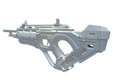3D hightech weapon. 3D close future weapon, made in 3D, isolated on white background stock image