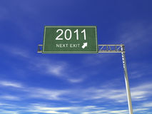 3D Highway Billboard: 2011. A 3D Conceptual Image. Isolated on White Stock Images