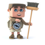 3d Hiker with broom Stock Images