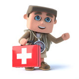 3d Hiker carries first aid. 3d render of a hiker with first aid kit Royalty Free Stock Photography