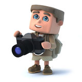 3d Hiker photographer Stock Photo