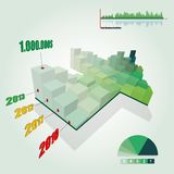 3D Histogram Graph with Growing Green Arrow Shape Stock Photography