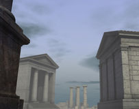 3d historic render classical Roman Greek city Royalty Free Stock Photo