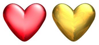 3d hjärtor metalliska två stock illustrationer