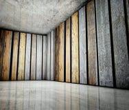3d hoek van oud grunge houten binnenland Stock Afbeeldingen