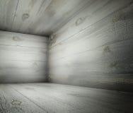 3d hoek van oud grunge houten binnenland Royalty-vrije Stock Afbeelding