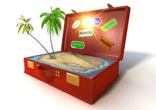 3d holiday suitcase. 3d of a red suitcase with beach inside Stock Photography