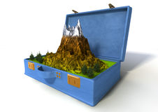 3d holiday suitcase. 3d of a red suitcase with a snowy mountain inside Royalty Free Stock Photography
