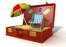 3d holiday suitcase. 3d of a red suitcase with beach inside Royalty Free Stock Images