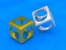3D hollow cubes on blue. Three-dimensional hollow cubes of silver and gold rendered on a blue background Royalty Free Stock Image