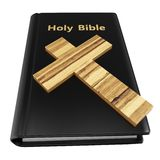 3d holy bible with wooden cross Stock Photography