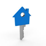 3d home key blue. House metal security Stock Image