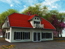 Home sweet home. House with trees and blue sky vector illustration