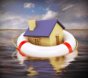 3d home on life preserver stock illustration