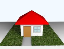 3D Home red roof on green grass Royalty Free Stock Images