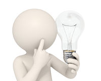 3d homem - idéia do bulbo Imagem de Stock