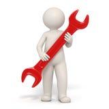3d homem - símbolo do serviço - chave inglesa vermelha Fotos de Stock