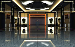 3d Hotel Hall Rendering Royalty Free Stock Photos