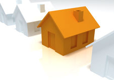3d house. 3d white and orange houses Stock Images
